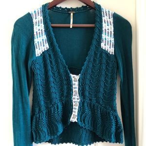 FREE PEOPLE GREEN PATTERN KNIT CARDIGAN SWEATER
